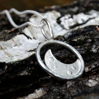 Eco Silver embossed crescent moon pebble pendant with large bail