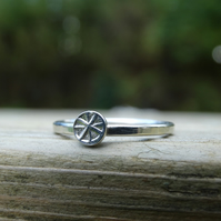 Viking cross star symbol Eco Silver stacking ring