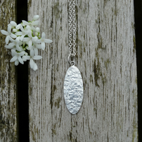 Textured recycled silver oval pendant
