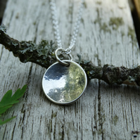 Simple domed disc pendant in recycled silver