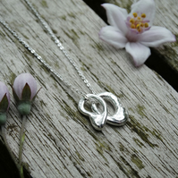 Artefact double charm pendant in recycled silver