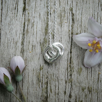 Artefact double tiny charm pendant in recycled silver