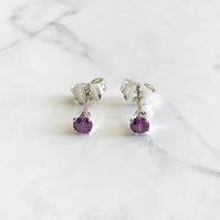 3mm Sterling Silver and Purple Cubic Zirconia Ear Studs. The Magnificent Minis.