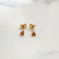 3mm Gold Filled and Dark Orange Cubic Zirconia Ear Studs. The Magnificent Minis.