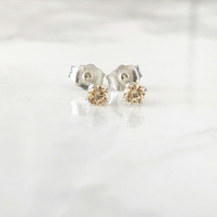 3mm Sterling Silver and Yellow Cubic Zirconia Ear Studs. The Magnificent Minis.