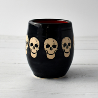 A202 Skulls wheel thrown pottery wine cup tumbler (Free UK postage)