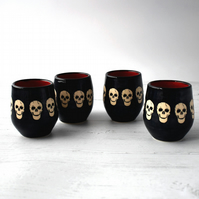 A202-4 Set of 4 Skulls wheel thrown pottery wine cup tumbler (Free UK postage)
