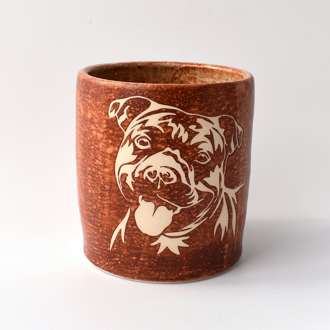 A182 Staffordshire bull terrier vase or utensil holder (Free UK postage)