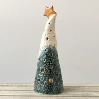 A320 Ceramic Christmas Tree Tea Light Holder (UK postage free)
