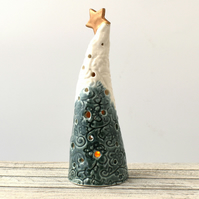 A322 Ceramic Christmas Tree Tea Light Holder (UK postage free)