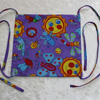 Face Mask with Fabric Straps in Purple Bug and Butterfly Cotton Fabric