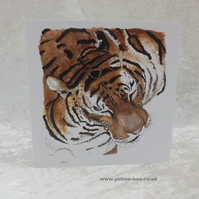Tiger card printed from an original watercolour Tiger by Yellow Bee