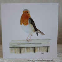 Greetings card Robin on a Fence card printed from an original watercolour Robin