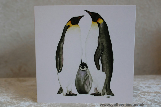 Greetings card Penguins card printed from an original watercolour Penguins