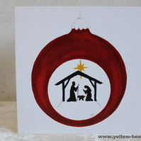 Christmas card Nativity Bauble card printed from an original watercolour Bauble