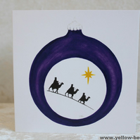 Christmas card Kings Bauble card printed from an original watercolour Bauble
