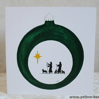 Christmas card Shepherds Bauble card printed from an original watercolour Bauble
