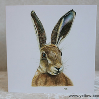 Greetings card Hare card printed from an original watercolour Hare