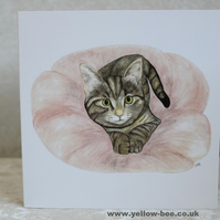 Greetings card Tabby Kitten card printed from an original watercolour Kitten