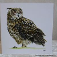 Greetings card Eagle Owl card printed from an original watercolour Owl