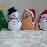 SALE 4 Handcrafted Christmas Decorations Santa Cat Snowman Christmas Tree