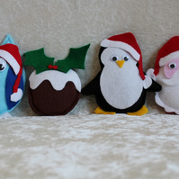 SALE 4 Handcrafted Christmas Decorations Owl Christmas Pudding Penguin Santa
