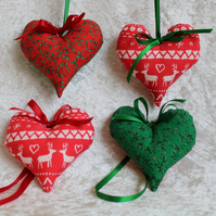 4 Handcrafted Christmas Tree Decorations Fabric Hearts