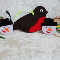 SALE 5 Handcrafted Christmas Decorations Wooden Decorations Snowman Robin Hearts