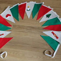 SALE 3m 15 flag Green, Red and 5 hand embellished flags Christmas BUNTING