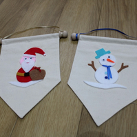 SALE 2 Handcrafted Christmas Banners Snowman and Father Christmas Mini Banners