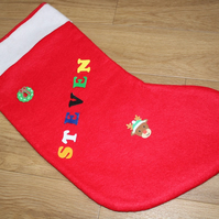 SALE Handcrafted Red Felt Satin Lined Personalised Christmas Stocking Kit