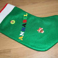 SALE Handcrafted Green Felt Satin Lined Personalised Christmas Stocking Kit