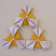 SALE Handcrafted small Fabric Origami Christmas Decoration in Yellow & Cream