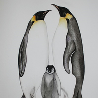 SALE Signed Original Watercolour of an Emperor Penguin Family sold by Artist