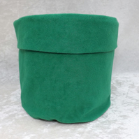 SALE Handcrafted Fabric Gift Basket Green Faux Suede Fabric Basket Suedette
