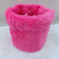 SALE Handcrafted Fabric Gift Basket Pink Fluffy Fabric Basket in Pink Faux Fur