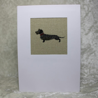 Wirehaired Dachshund Card Fabric Card in Wheat Beige Woof Sophie Allport Fabric