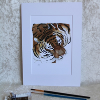 A5 Print from an original watercolour of a Sleeping Tiger Mounted A4