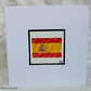 Unique Hand Painted Spanish Flag Greetings Card Flag of Spain Card