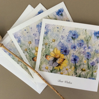 Limited edition printed cards of butterfly in meadow painting