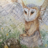 Original watercolour painting of barn owl and daisies