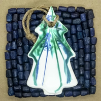 Handmade Hanging Pottery Christmas Tree Decoration, Blue Green White