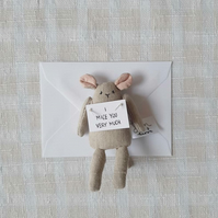 Small Pocket Mouse holding note, I Miss You, Gift