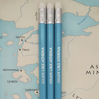 Study Like Athena Blue HB Pencils, Greek Mythology, Back to School, Student Gift