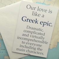 Our Love is Like a Greek Epic. Greek Mythology Funny Anniversary, Birthday Card