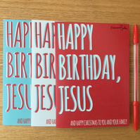 Pack of 12 Funny, Sarcastic Happy Birthday Jesus Christmas Cards, Recycled