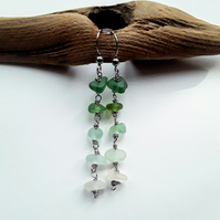 Seaglass Earrings: Arctic Green Colours