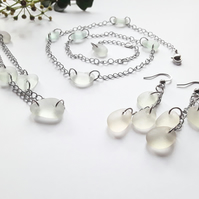 Seaglass Jewellery Set: Glow White