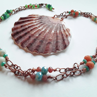 Scallop Shell & Beaded Copper Chain Necklace