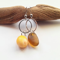 Asymmetrical Seaglass & Shell Earrings: Golden Yellow